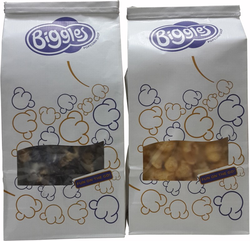 Biggles 1 Dark & White Chocolate Medium Pack Popcorn, 1 Indian Masala Medium Pack Popcorn Combo