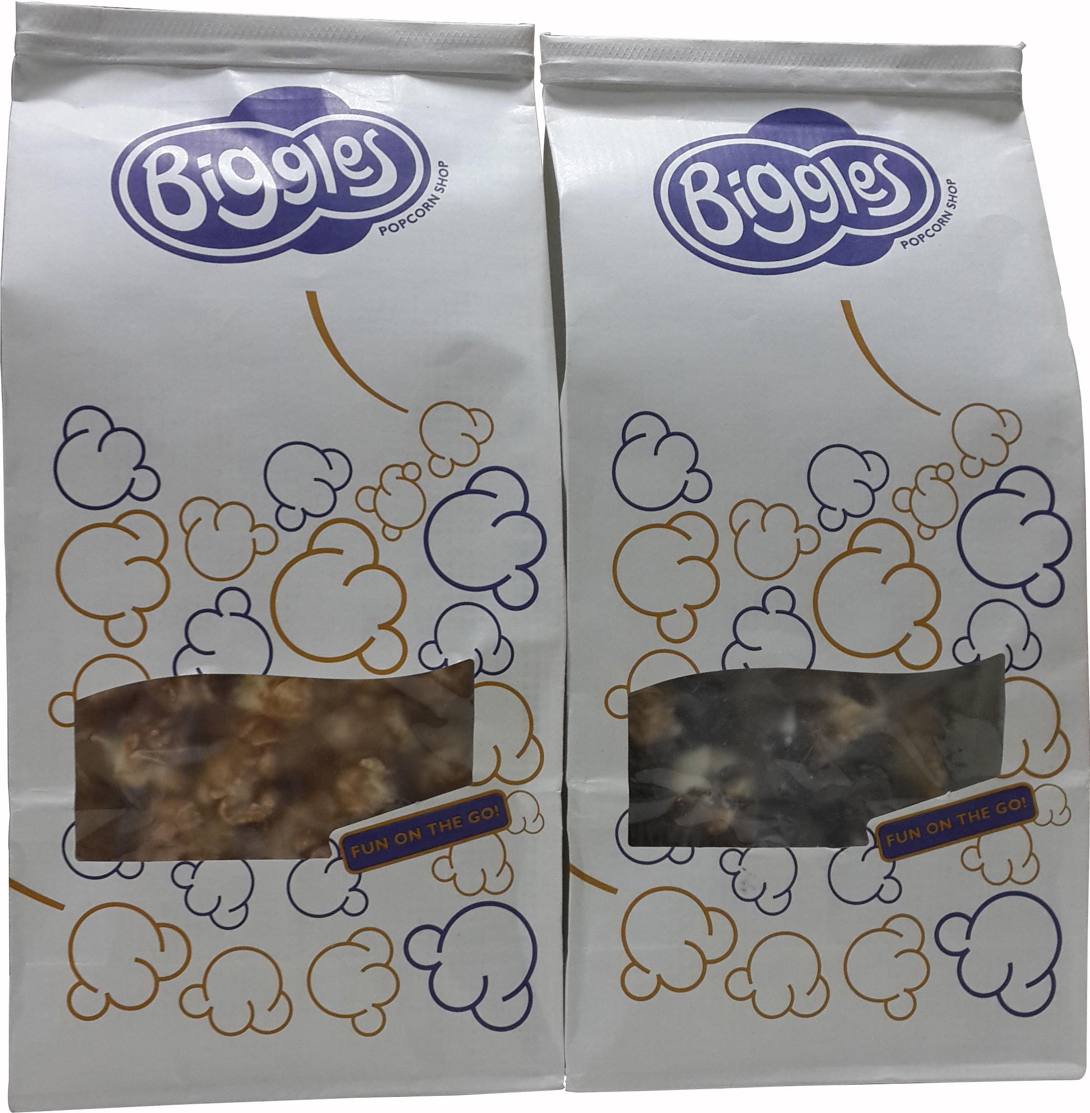 Biggles 1 Caramel Medium Pack Popcorn, 1 Dark & White Chocolate Medium Pack Popcorn Combo