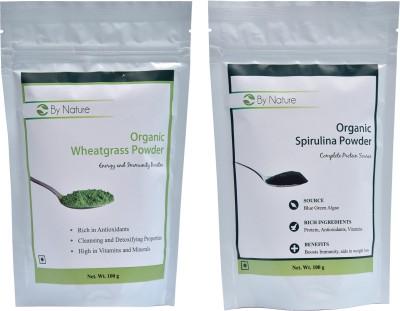 By Nature 1 Wheatgrass Powder, 1 Spirulina Powder Combo