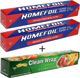 Homefoil 2 Product 21 MTRS With 30 MTR Cling Film Aluminium Foil(30 m)