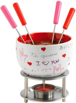 Mastrad Chocolate Fondue - (4 Red Forks) Ceramic, Stainless Steel Fondue Set(White)