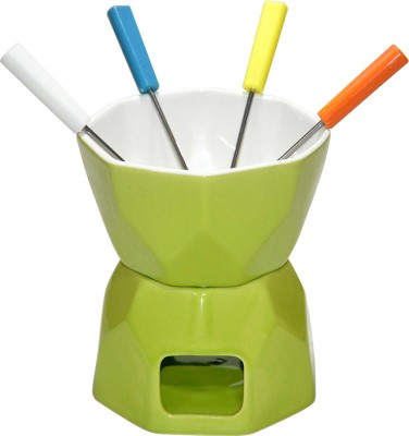 White Gold Ceramic Fondue Set