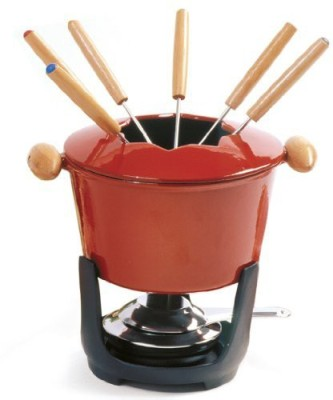 Norpro 10 Piece Cast Iron Fondue Set - Red Iron Fondue Set(Red, Black)