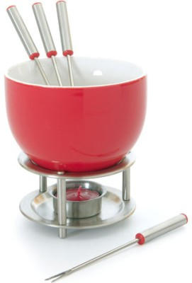 Mastrad Chocolate Fondue - (4 Red Forks) Ceramic, Stainless Steel Fondue Set(Red)