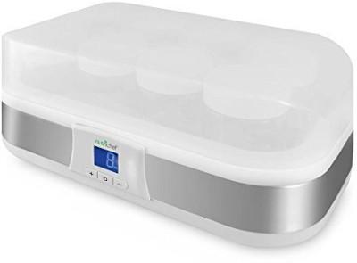 NutriChef PKYM80 - Electronic Yogurt Maker Machine with Digital Display Timer Function - 8 Glass Jars Yogurt Maker(White)