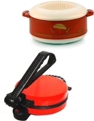 ECO SHOPEE Food 455 COMBO OF RED ROTI MAKER WITH CASSEROLE Roti/Khakhra Maker(Red)