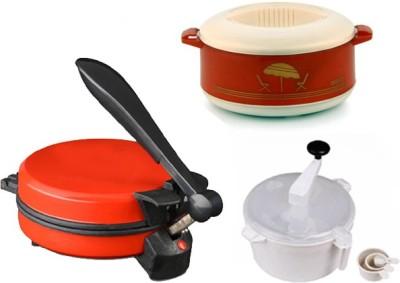ECO SHOPEE COMBO OF EAGLE RED DETACHABLE ROTI MAKER, CASSEROLE AND DOUGH MAKER Roti/Khakhra Maker