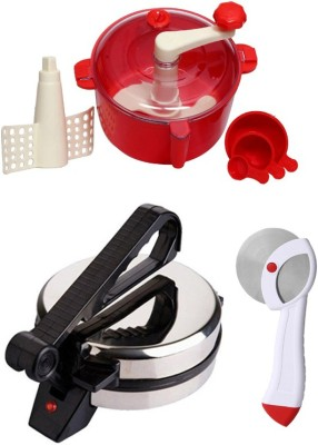 ECO SHOPEE COMBO OF NATIONAL Roti- MAKER AND PIZZA CUTTER, RED Dough Maker
