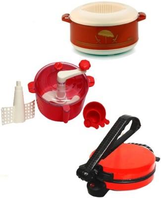 ECO SHOPEE COMBO OF RED Roti- MAKER, CASSEROLE AND RED DOUGH MAKER Roti/Khakhra Maker