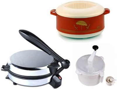 ECO SHOPEE COMBO OF EAGLE DETACHABLE Roti-MAKER, CASSEROLE AND DOUGH MAKER Roti/Khakhra Maker