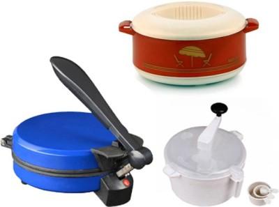 ECO SHOPEE COMBO OF EAGLE BLUE DETACHABLE ROTI MAKER, CASSEROLE AND DOUGH MAKER Roti/Khakhra Maker