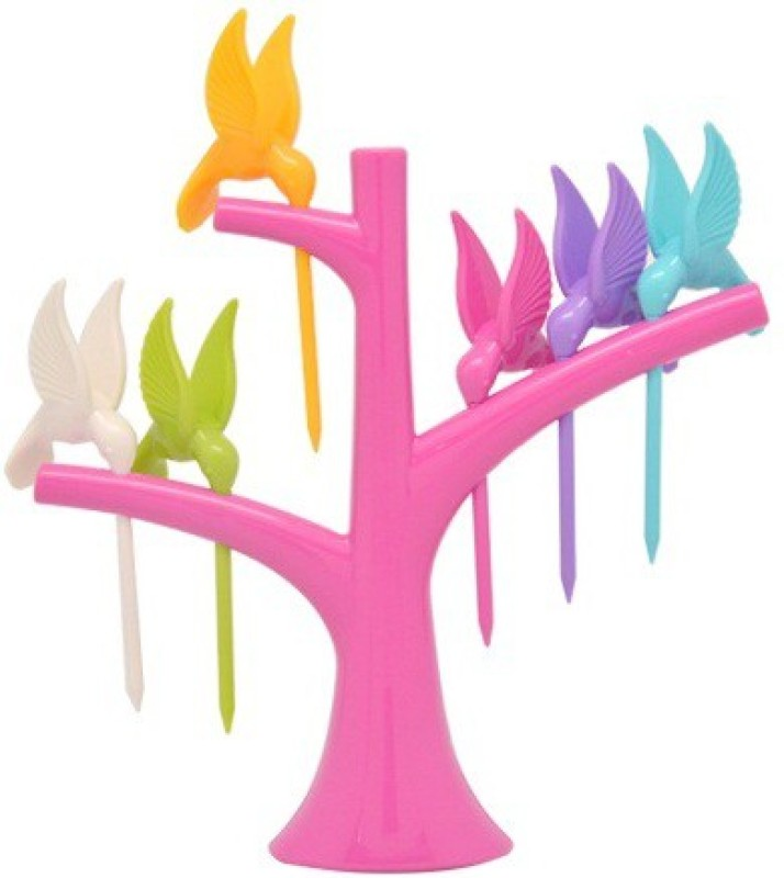 Shopo Humming Bird Disposable Plastic Fruit Fork Set(Pack of 7)