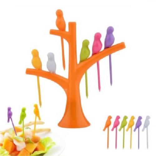 Bright Birdie Set Of 1 - 6 Pcs Plastic Fruit Fork Set Flipkart