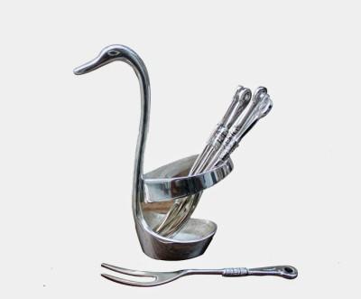 Dekor World Silver Plated 6 Pcs fork Duck Set Disposable Brass Dessert Fork Set