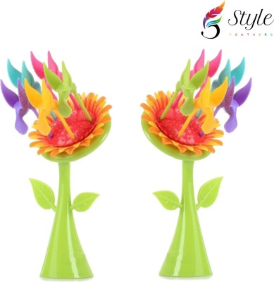 Style Feathers Sunflower Disposable Plastic Fruit Fork Set