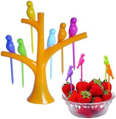 Vmore Fancy Design Table Toothpick Holder Disposable Plastic Fruit Fork Set