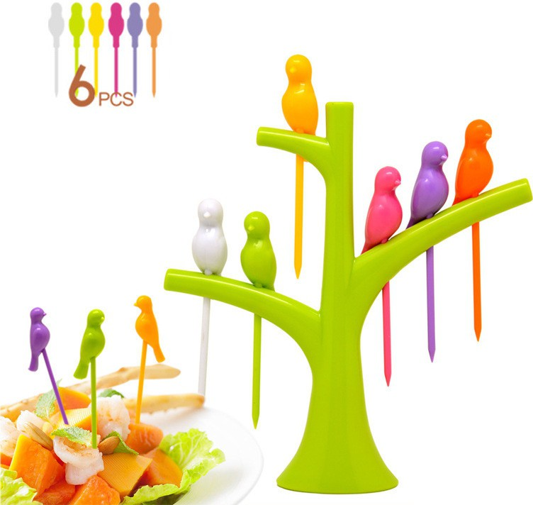 Dizionario Creative Birdie Stick 7 pc Disposable Plastic Fruit Fork Set Flipkart