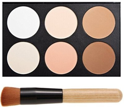 FiveBull Professional 6 Warm Color Cosmetic Foundation Concealer Camouflage Contour Makeup Palette with Makeup Brushes Foundation