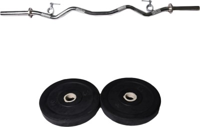 Royal 2kg_2pc_Low_cost_black_plates+3ft_1pc_Curve_rod_withlock Weight Plate