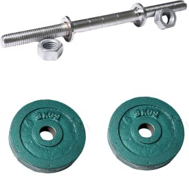 ROYAL 3kg_2pc_Casting_green_plates+1pc_Silver_Handle Weight Plate
