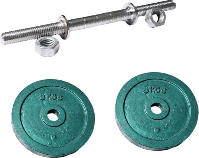 Royal 8kg_2pc_Casting_green_plates+1pc_Silver_Handle Weight Plate(8 kg)