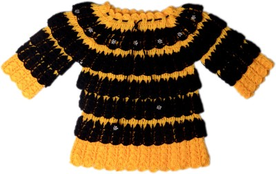 AV Embroidered Round Neck Girl's Yellow, Black Sweater