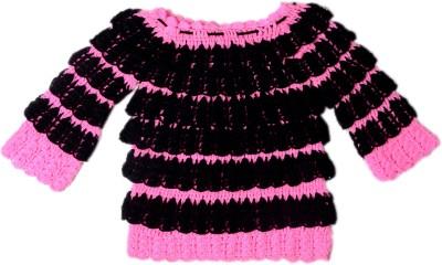 AV Embroidered Round Neck Baby Girl's Pink, Black Sweater