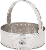"Taluka (7.10"" x 2.9"" Inches) Stainless Steel Round Pooja Basket Hindu Prayer and Meditation Pooja Basket with Handle Stainless Steel Fruit & Vegetable"