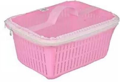 Bagathon India Multipurpose Plastic Fruit Basket With Cover Plastic Fruit & Vegetable Basket(Pink)