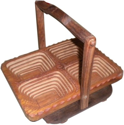 Desi Karigar Wooden Fruit & Vegetable Basket(Brown)