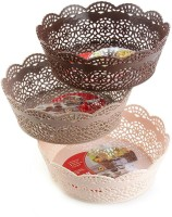Shrih Stylish 3 Piece Plastic Basket Set Plastic Fruit & Vegetable Basket(Multicolor)