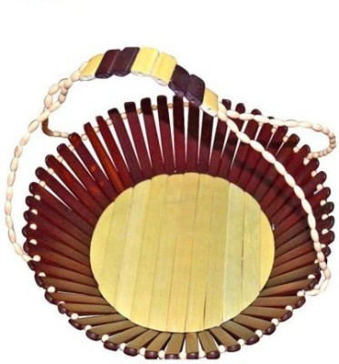 Desi Karigar Wooden Fruit & Vegetable Basket(Yellow, Red)