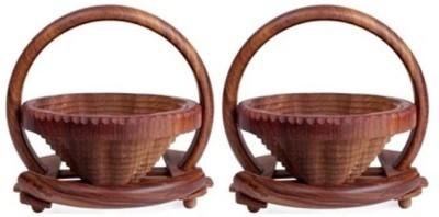 Onlineshoppee Pack of 2 Wooden Fruit & Vegetable Basket