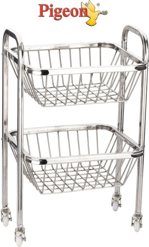 Pigeon Trolley Stainless Steel Fruit & Vegetable Basket(White, Silver)