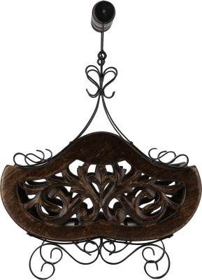 Derien Contemporary Wooden, Iron Fruit & Vegetable Basket(Brown, Black)
