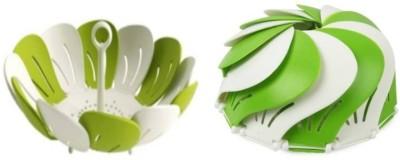BRIGHT Plastic Fruit & Vegetable Basket(Green, White)
