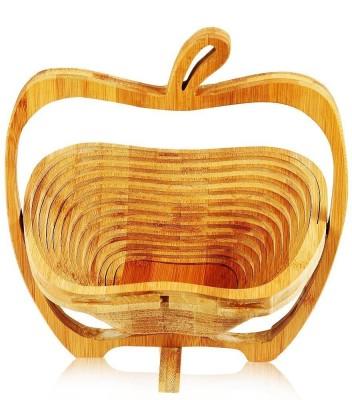 HOKIPO Apple Shaped Folding Bamboo Fruit & Vegetable Basket