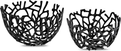 Kala Bhawan Decorative flower, fruit baskets (set of 2) - Black Aluminium Fruit & Vegetable Basket(Black)