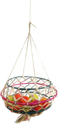 Brown Village Tokri Jute Fruit & Vegetable Basket(Multicolor)
