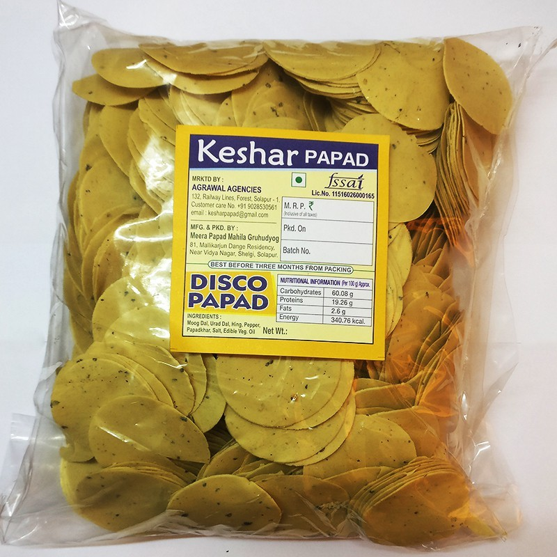 Keshar Papad Premium Disco Papad 1 kg(Pack of 1)