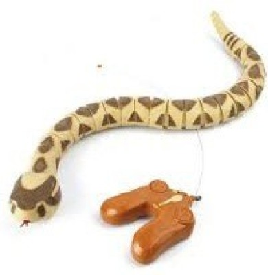 RREnterprizes 777 Remote Control Rattle Snake with Sound Gag Toy(Yellow with Brown)