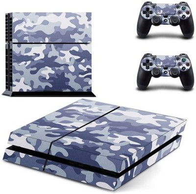 Hytech Plus Blue Camouflage Theme Skin Sticker Cover for PS4 Console and Controllers  Gaming Accessory Kit