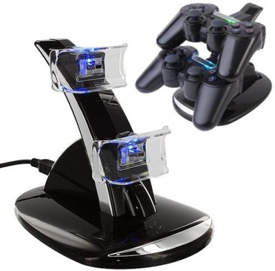 HDE Hde Led Black Dual Controller Charging Stand Station  Gaming Accessory Kit(Black, For PS3)