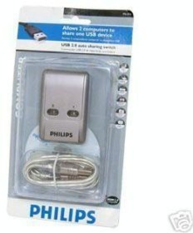 Philips 4439595 500 GB with PHILIPS USB 2.0 Sharing Switch, Allows 2 Computers to Share one USB Device(Black)