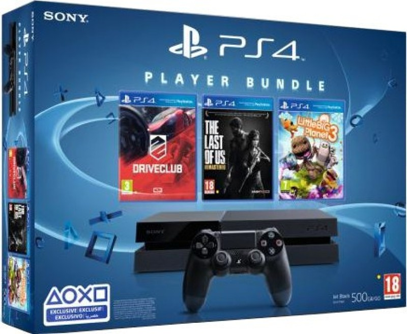 Sony PlayStation 4 (PS4) 500 GB with Player Bundle (Drive Club, The Last of Us, Little Big Planet 3)(Black)