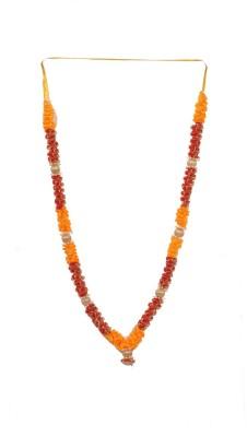 Elite Handicrafts Attractive Red Orange and Golden Satin Diwali Deity Satin Garland