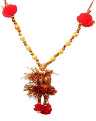 Colorkart Mala or haar for Maa Laxmi and Lord Ganesh for Diwali puja 2pcs Satin Garland(Multicolor, Maroon)