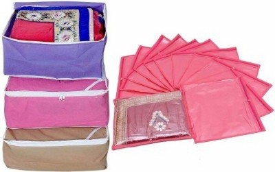 Kuber Industries Designer Combo of 3 Pcs Set and Single Packing 12 Pcs Saree Cover sc005(Multicolor)