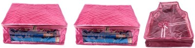 Annapurna Sales Designer 5 Inch Height Large Saree and Blouse Cover - Set of 3 Pcs. Pink00339