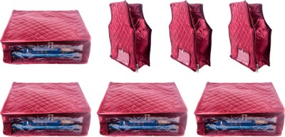 Annapurna Sales Designer 5 Inch Height Side Transparent Large Saree and Blouse Cover - Set of 7 Pcs. Maroon00314